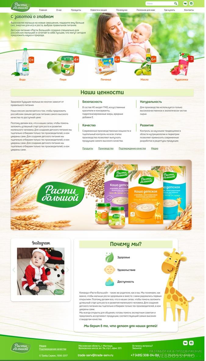 Создание сайта: Сайт производителя детского питания (после)